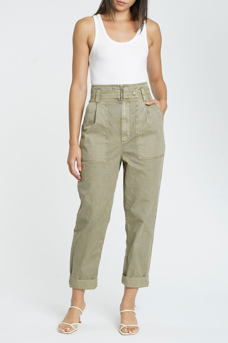 Ari Belted High Rise Field Pant - Kelp