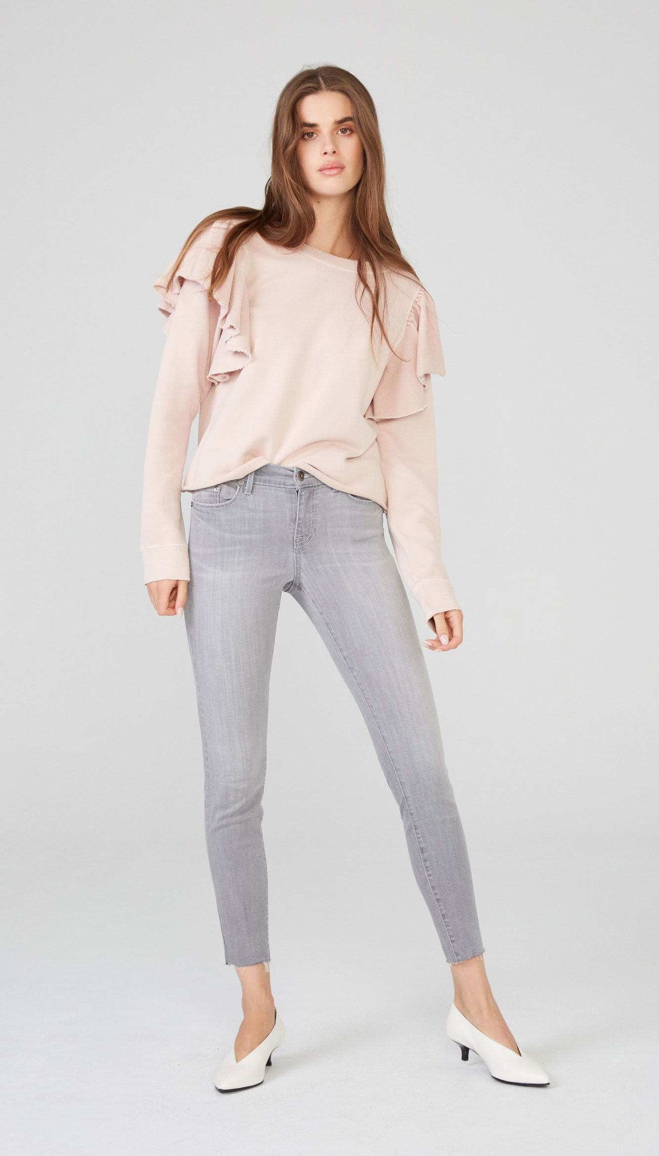 Audrey Mid Rise Skinny - Ash Grey