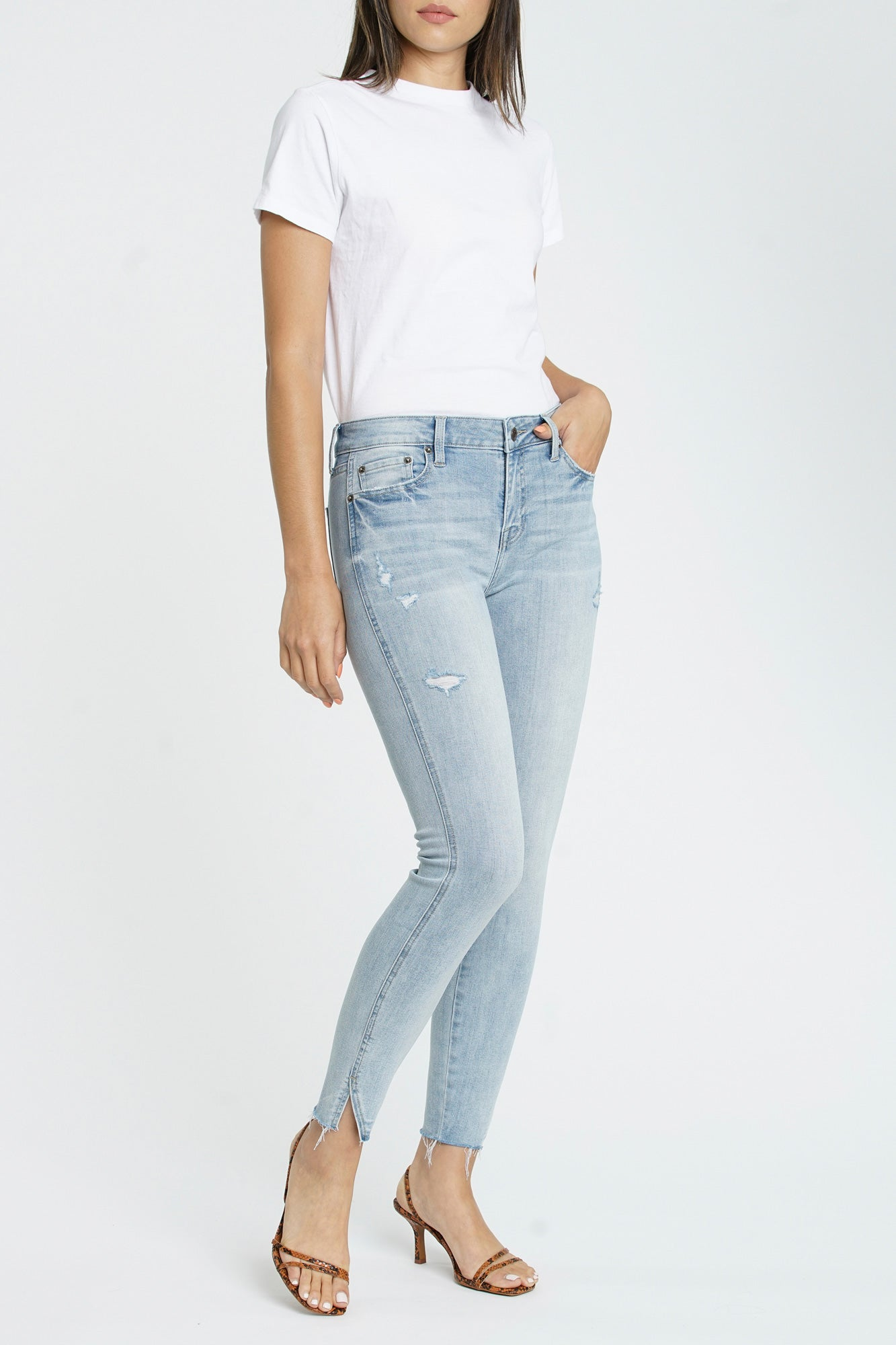 Audrey Mid Rise Skinny With Hem Vent - Seashore