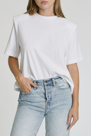 Brileigh Shoulder Pad Pleat Tee - Le Blanc
