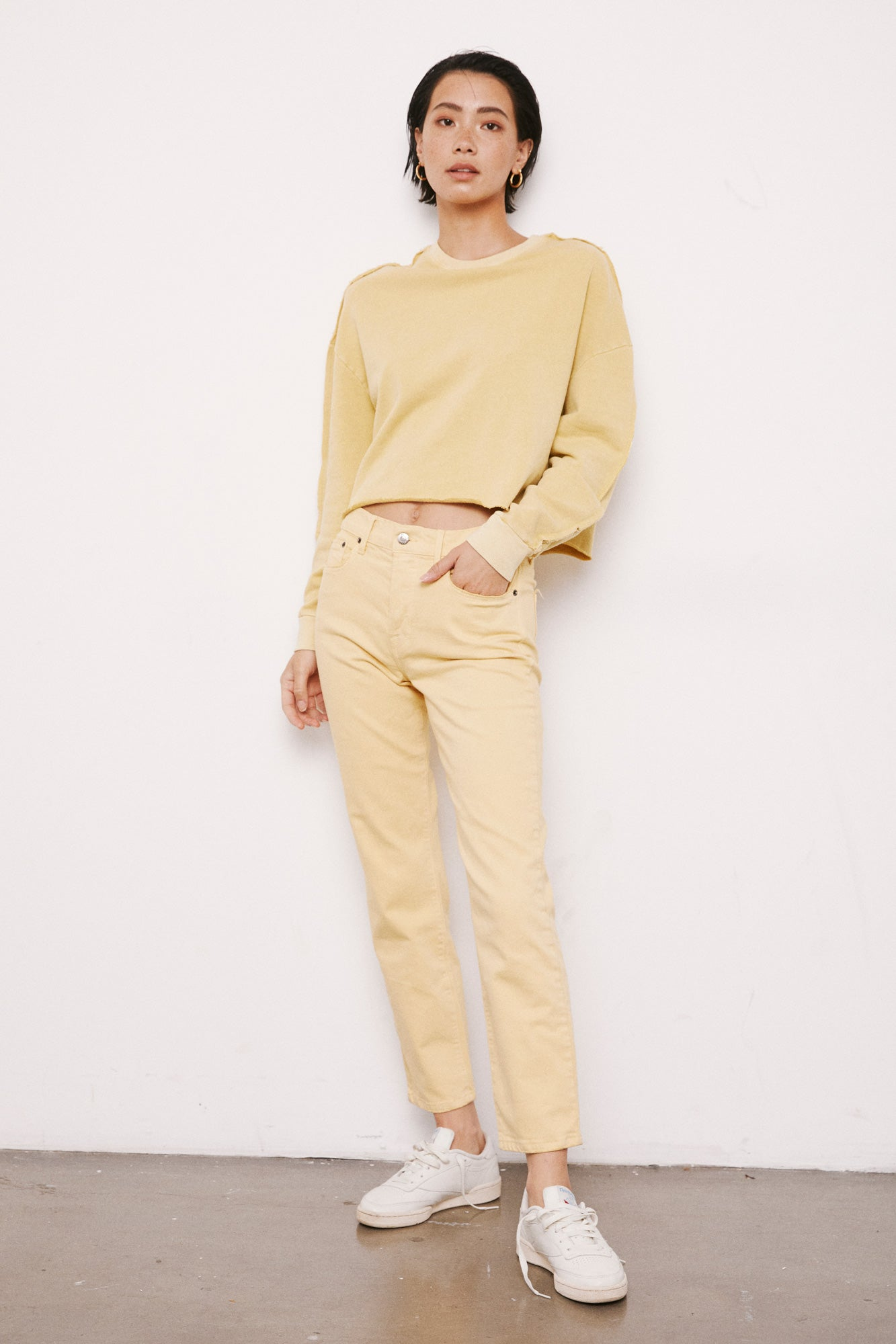 Charlie High Rise Straight Leg - Faded Yellow