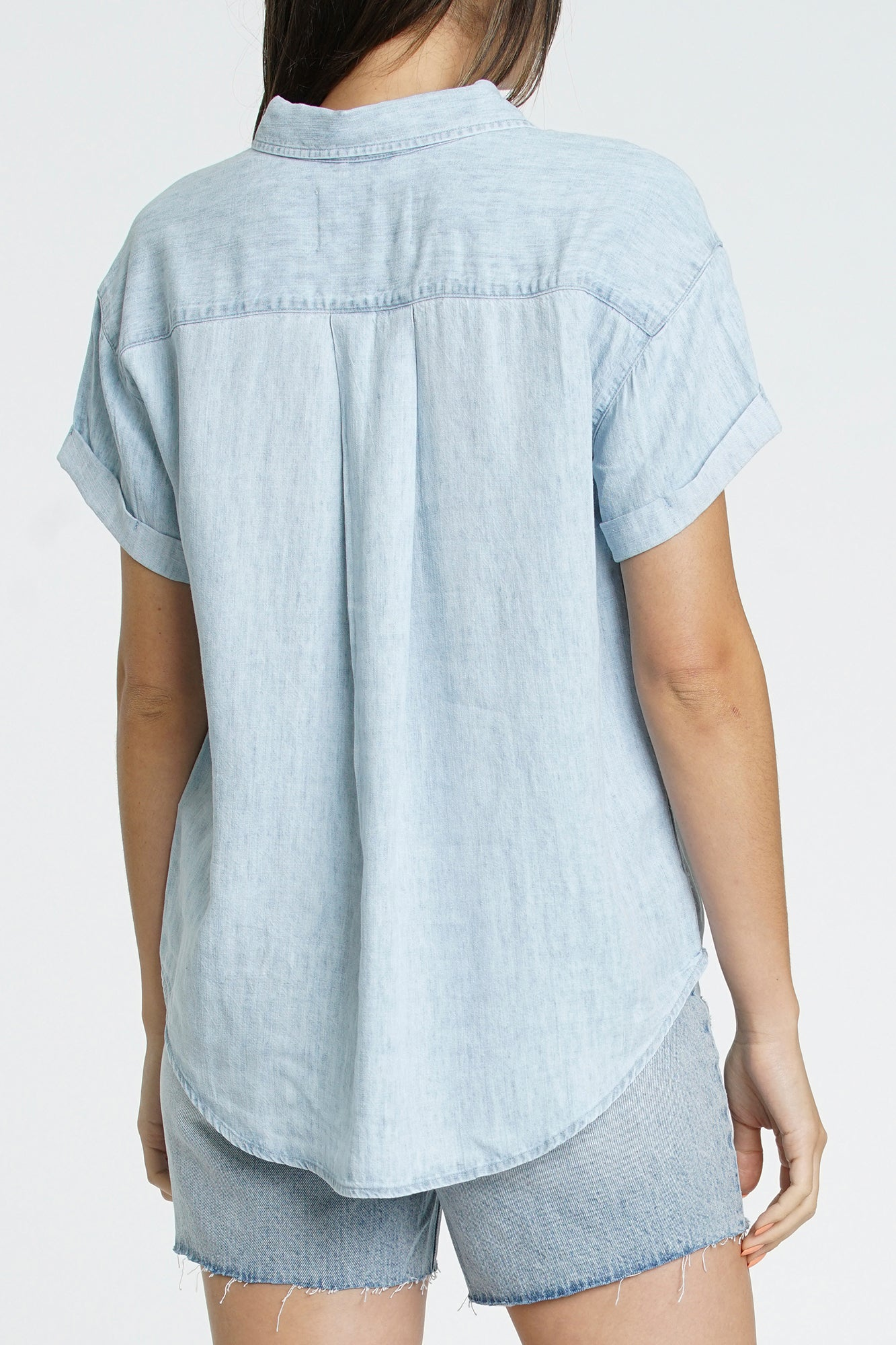Courtney Cuffed Short Sleeve Shirt - Blue Jay