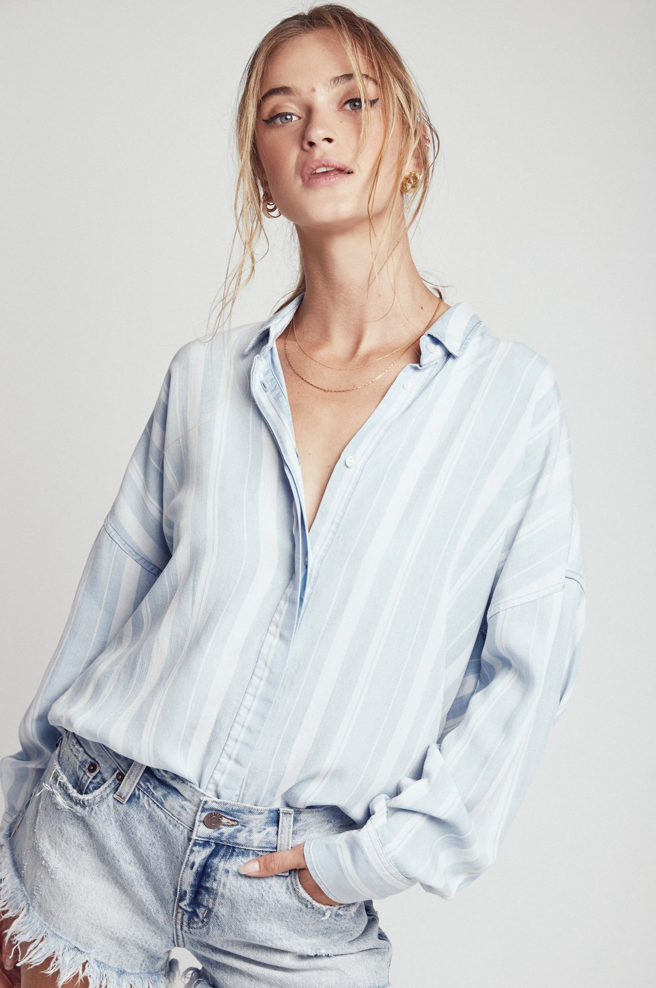 Elise Oversize Summer Shirt - Blue Shadows