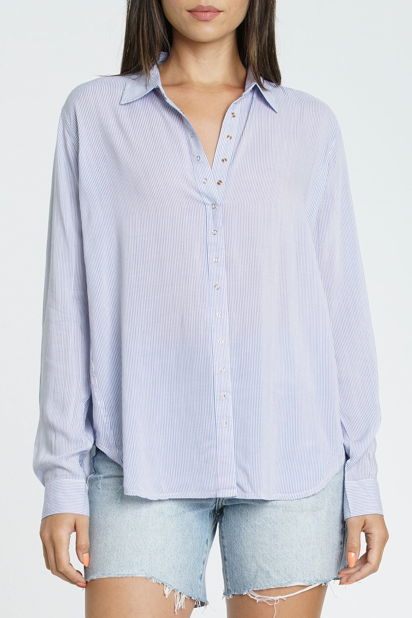 Elle Long Sleeve Snap Front Shirt - Balboa Stripe