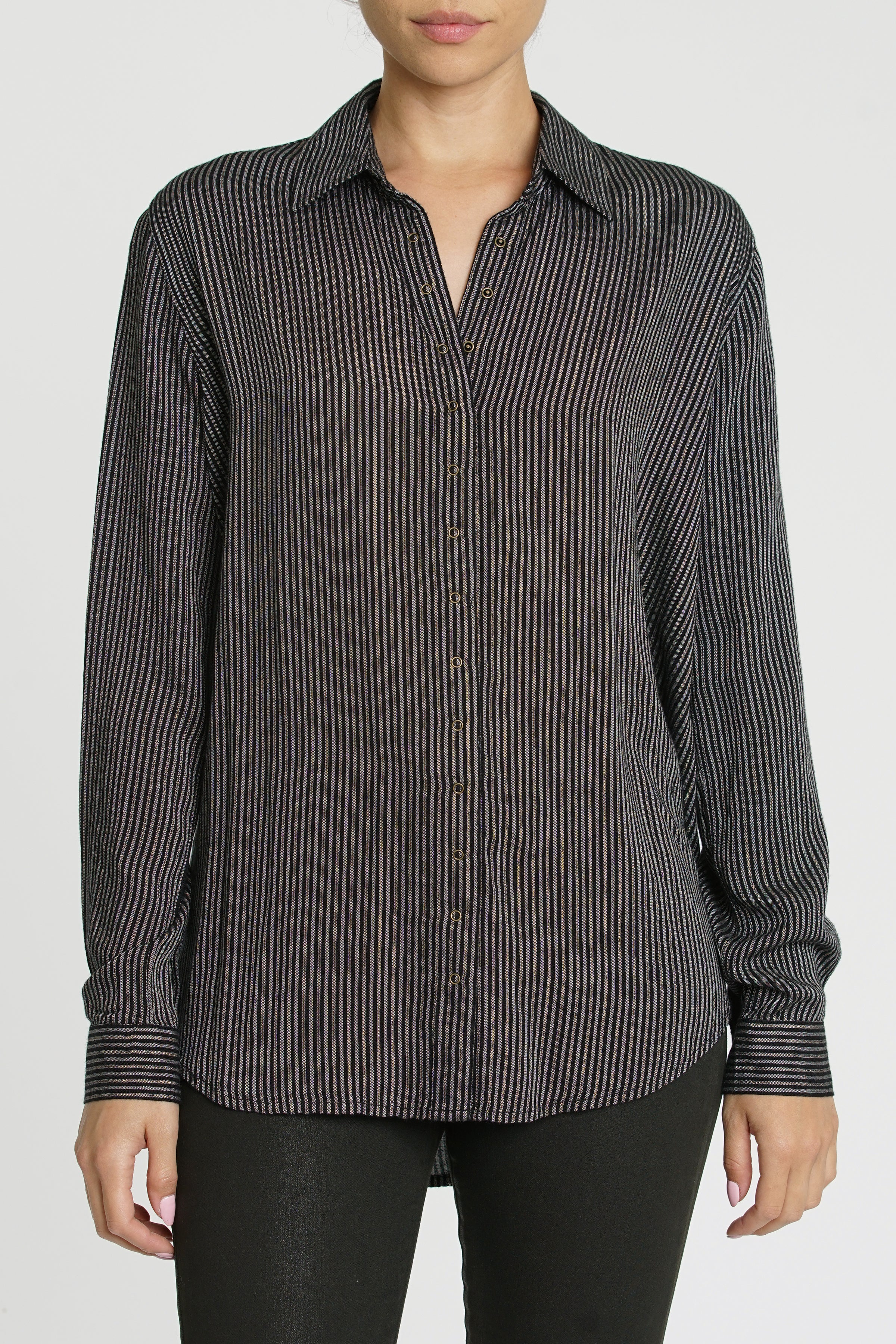 Elle Metallic Stripe Long Sleeve Babysnap Shirt - Disco Stripe