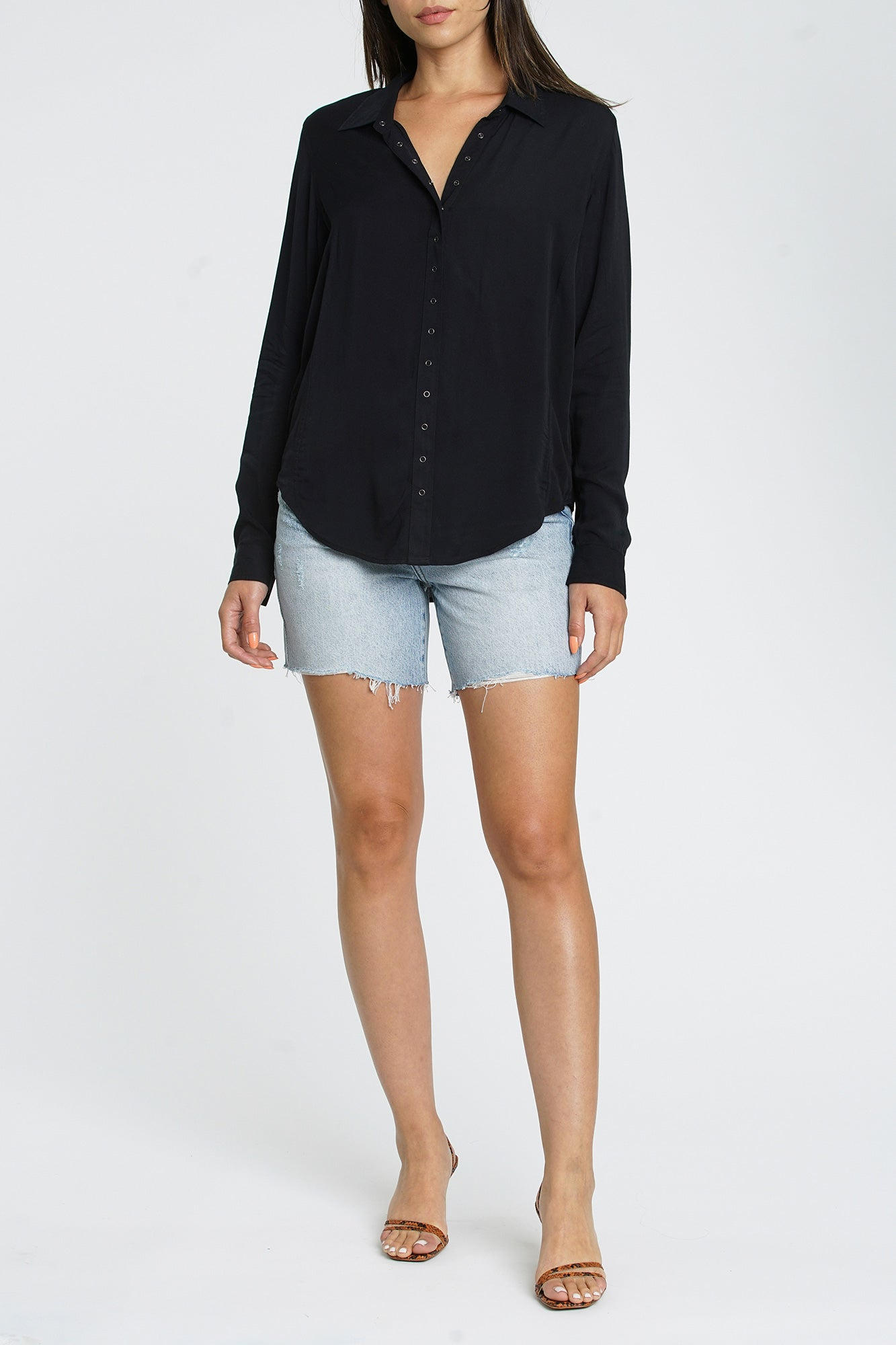 Elle Long Sleeve Snap Front Shirt - Onyx