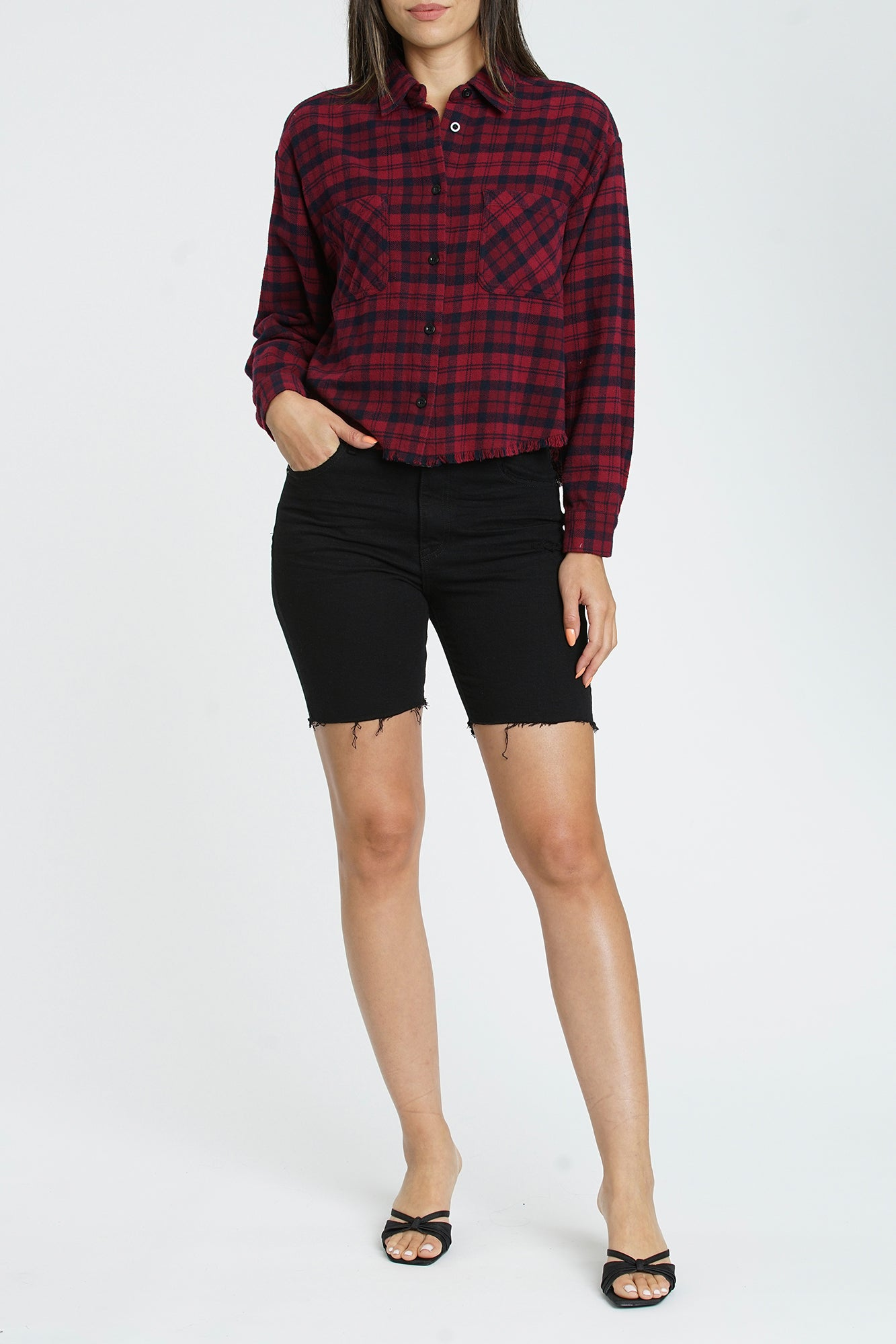 Emery Long Sleeve Cropped Boyfriend Shirt - Bolton