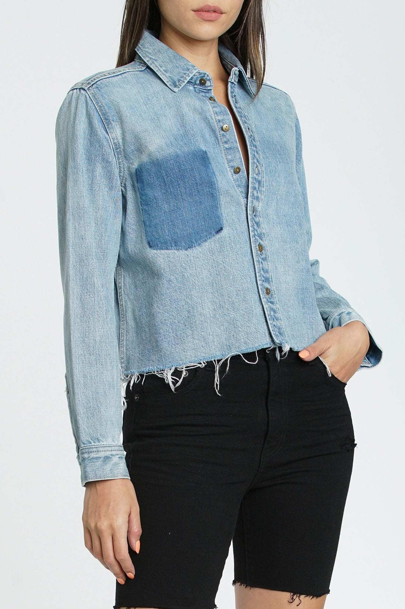 Hensley Cropped Denim Shirt - Come On