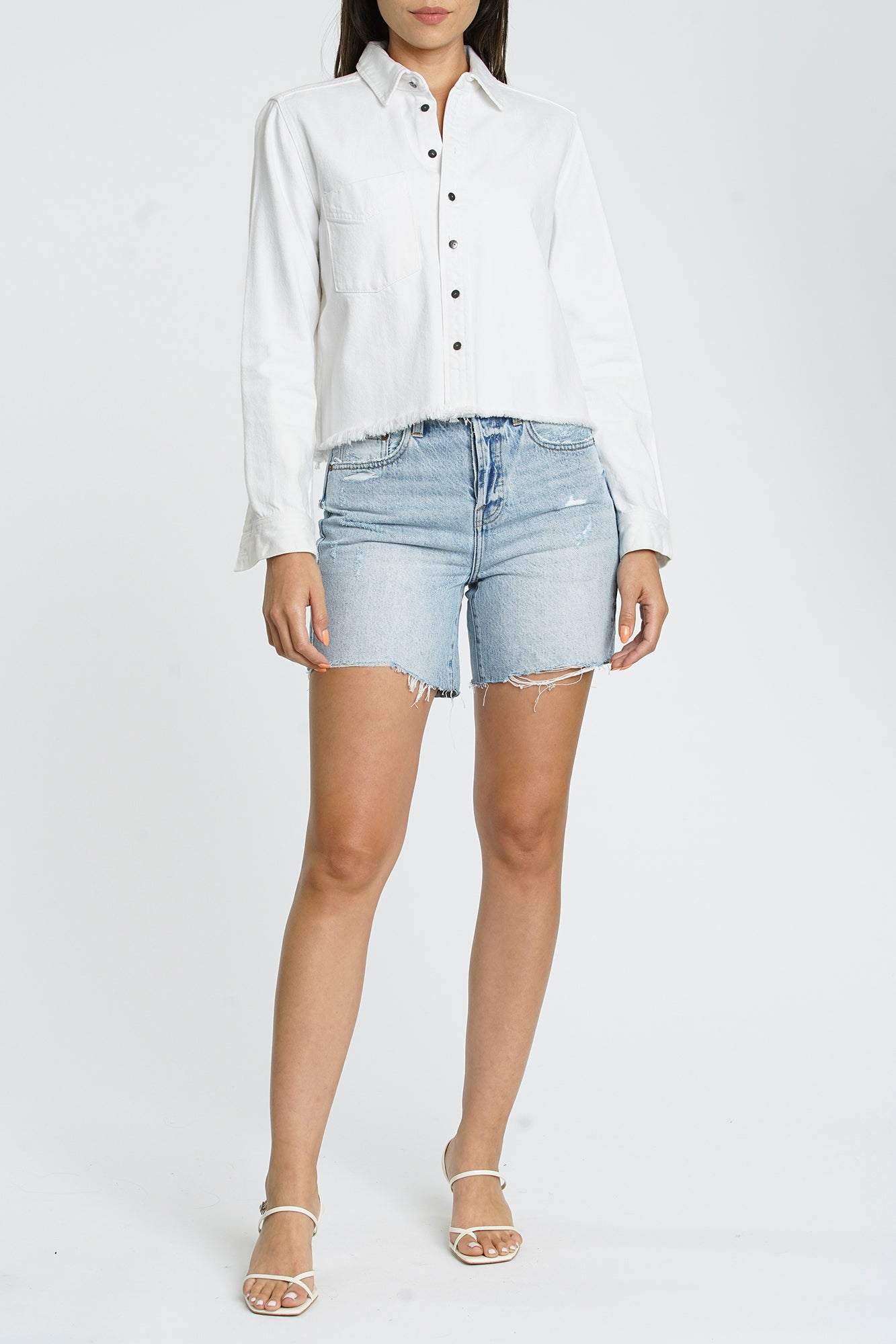 Hensley Cropped Denim Shirt - White Out