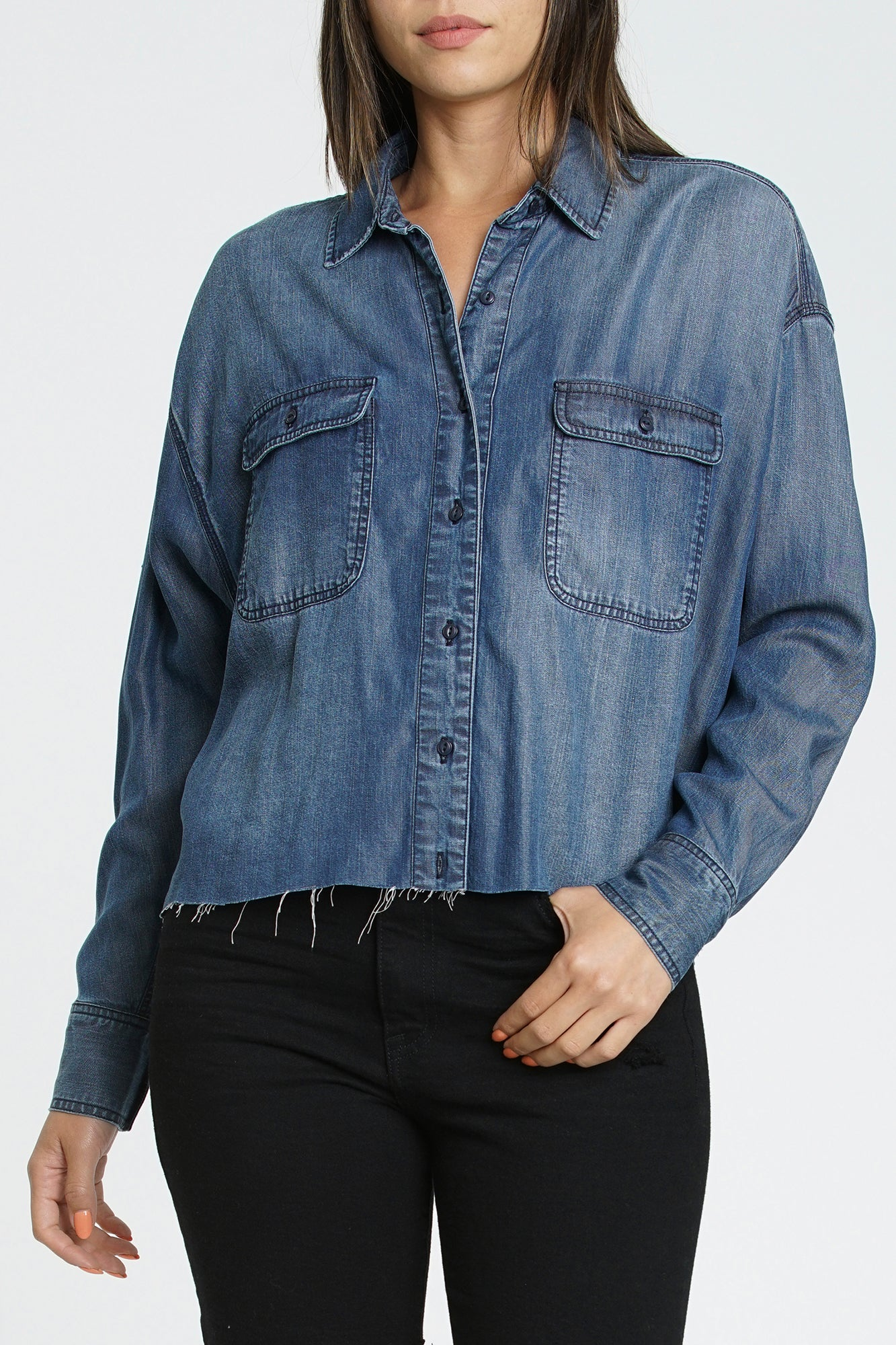 Logan Long Sleeve Indigo Top - Confession