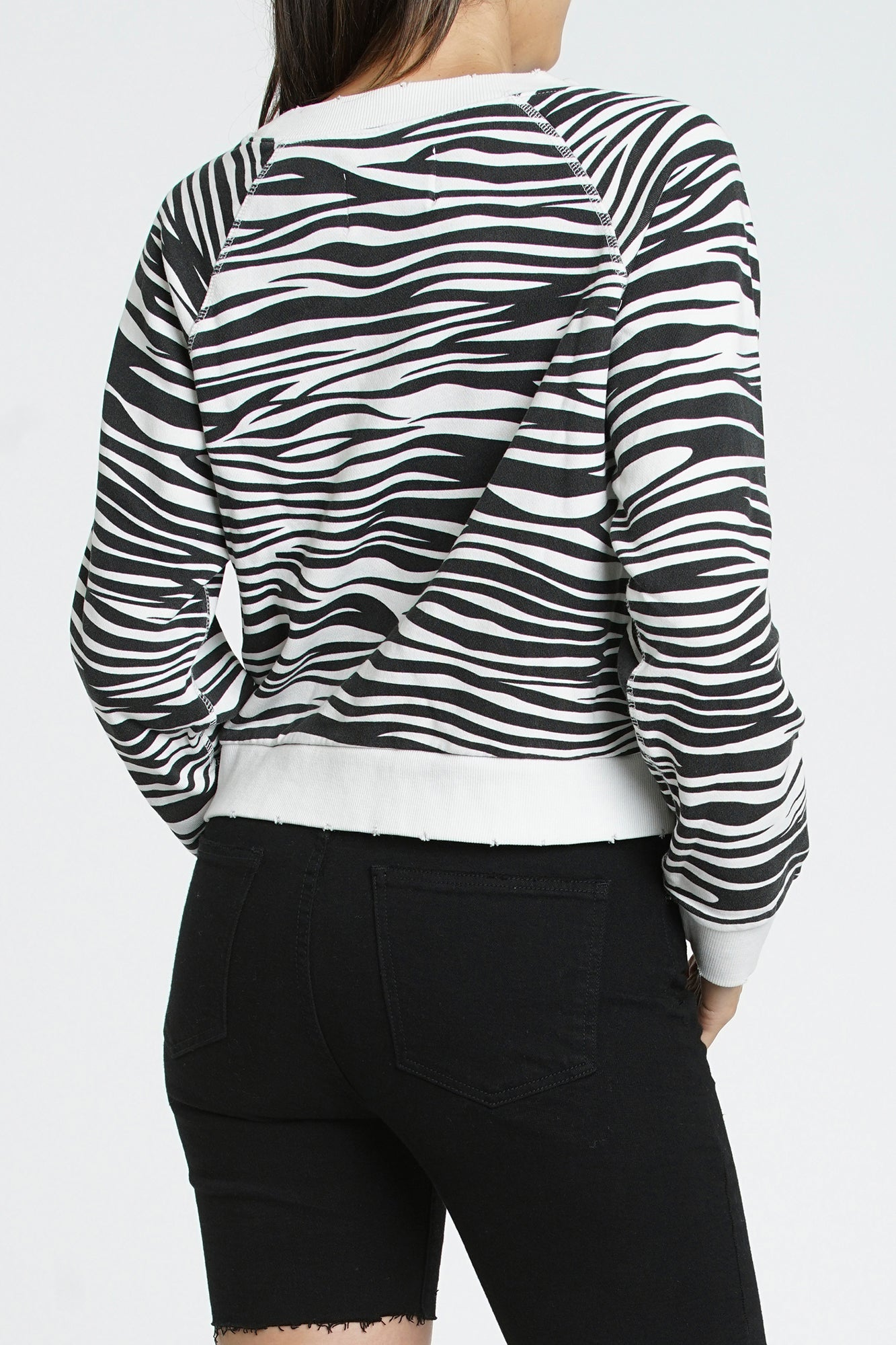 Luana Long Sleeve Crew Neck French Terry Pullover - Zebra