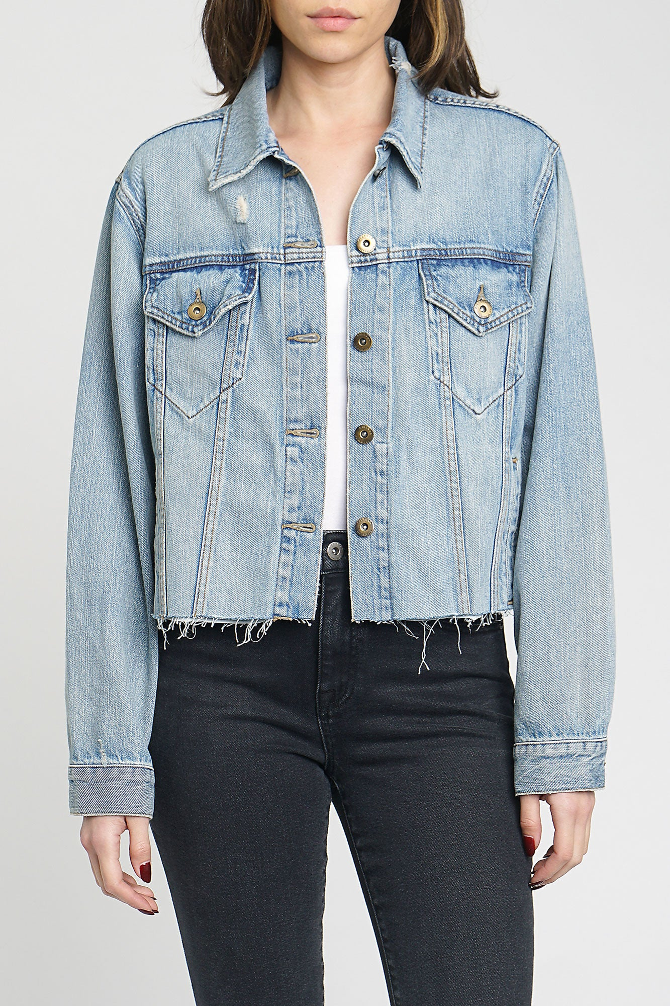 Naya Crop Boyfriend Denim Jacket - Vibes