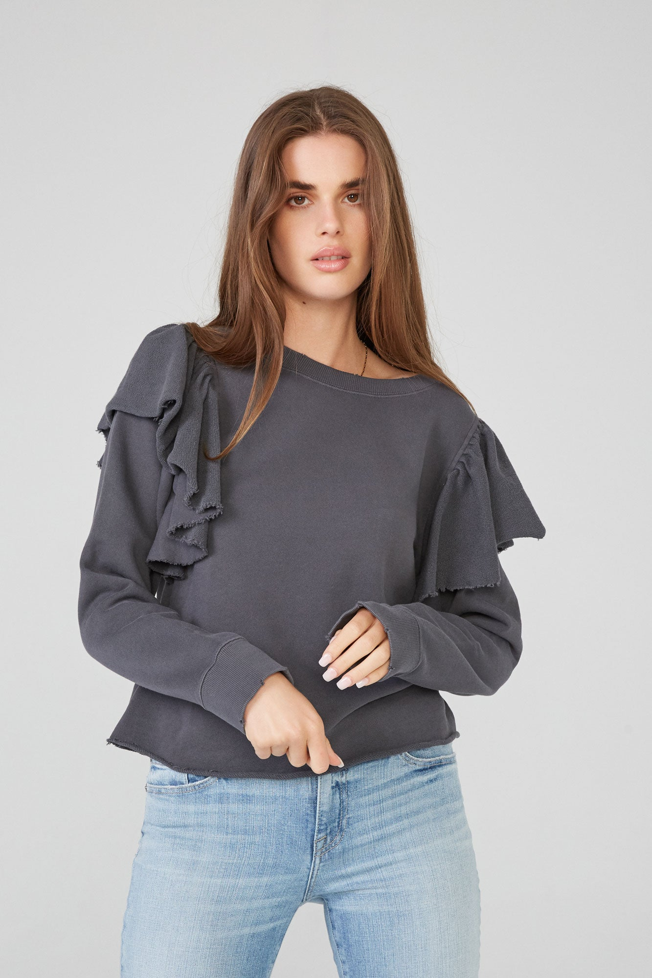 Peyton Long Sleeve Ruffle Sweatshirt - Anchor