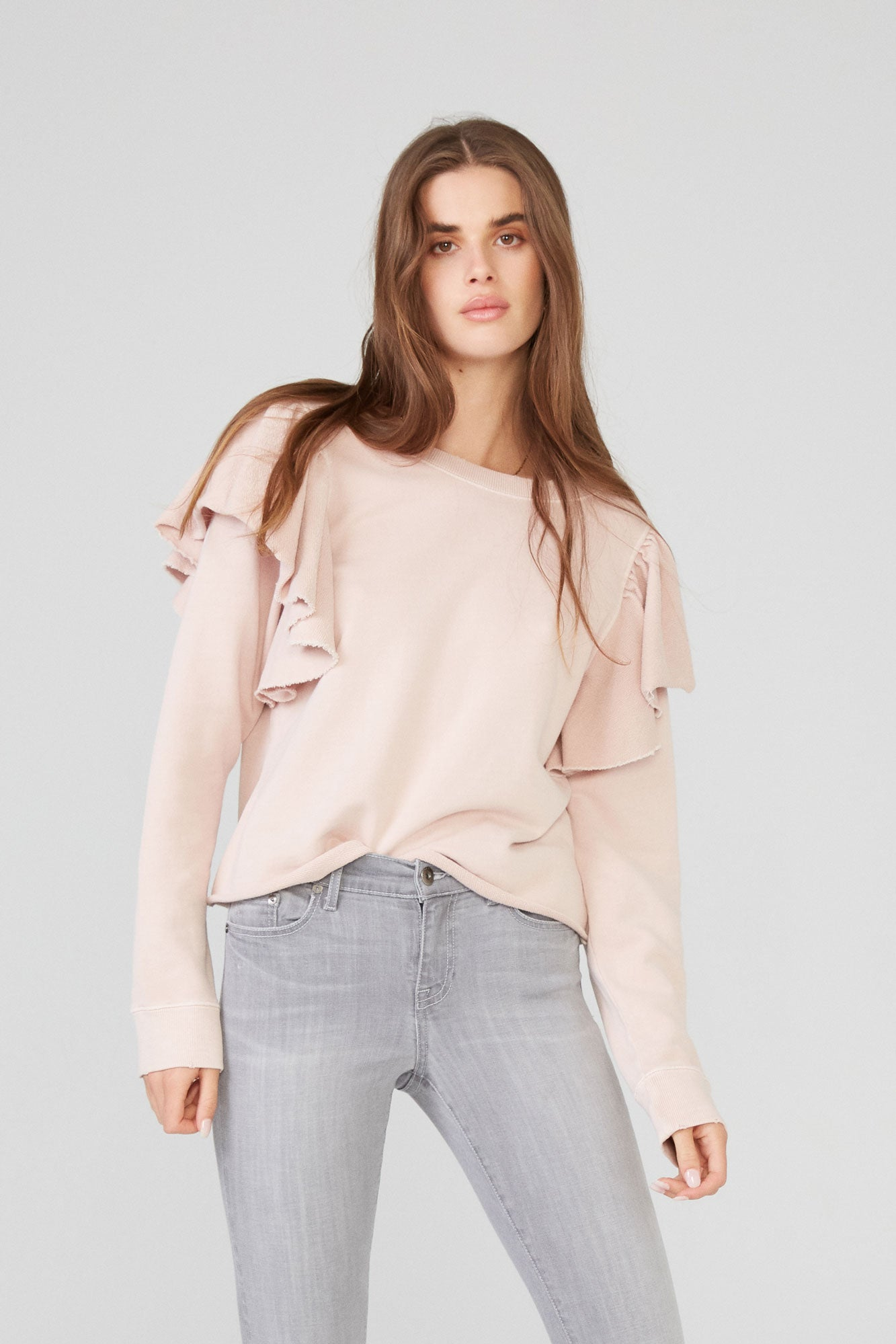 Peyton Long Sleeve Ruffle Sweatshirt - Vintage Rose