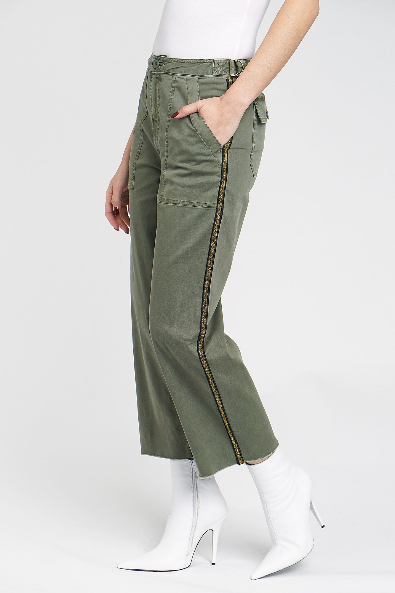 Ella High Rise Cropped Trouser - Sweet Bay Olive