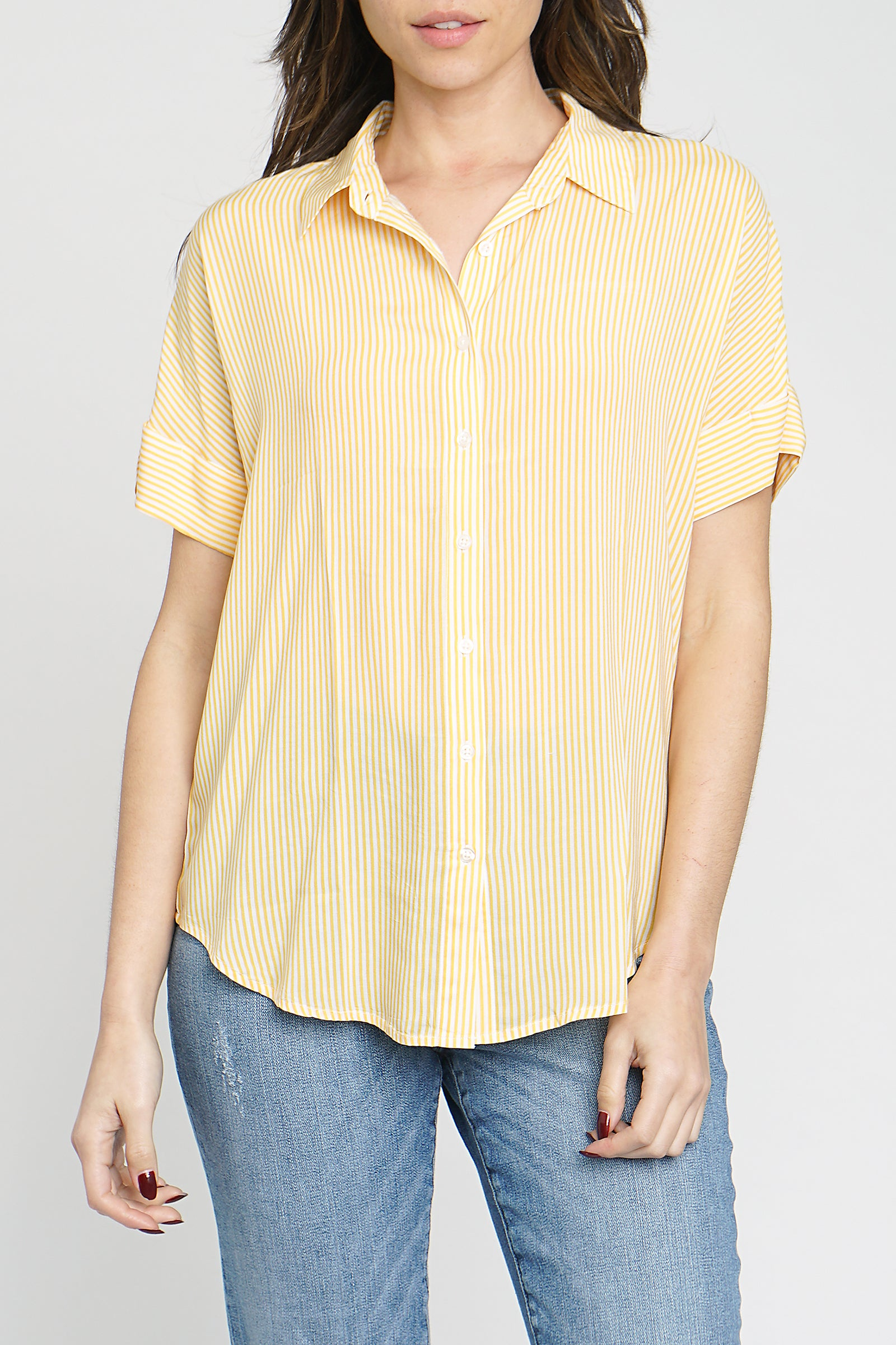 Avery Short Sleeve Button Up Shirt - 1965 Sunshine Stripe