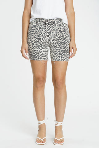 Aline High Rise Midi Short - Cheetah Ecru