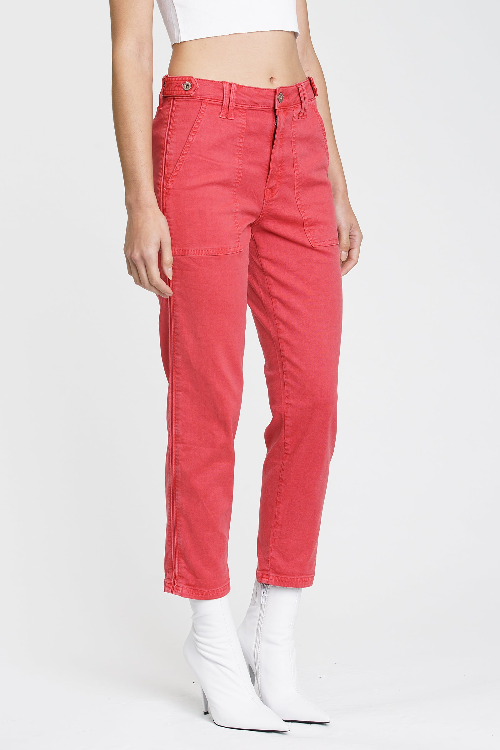 Erin  Cropped Straight Leg - Hibiscus