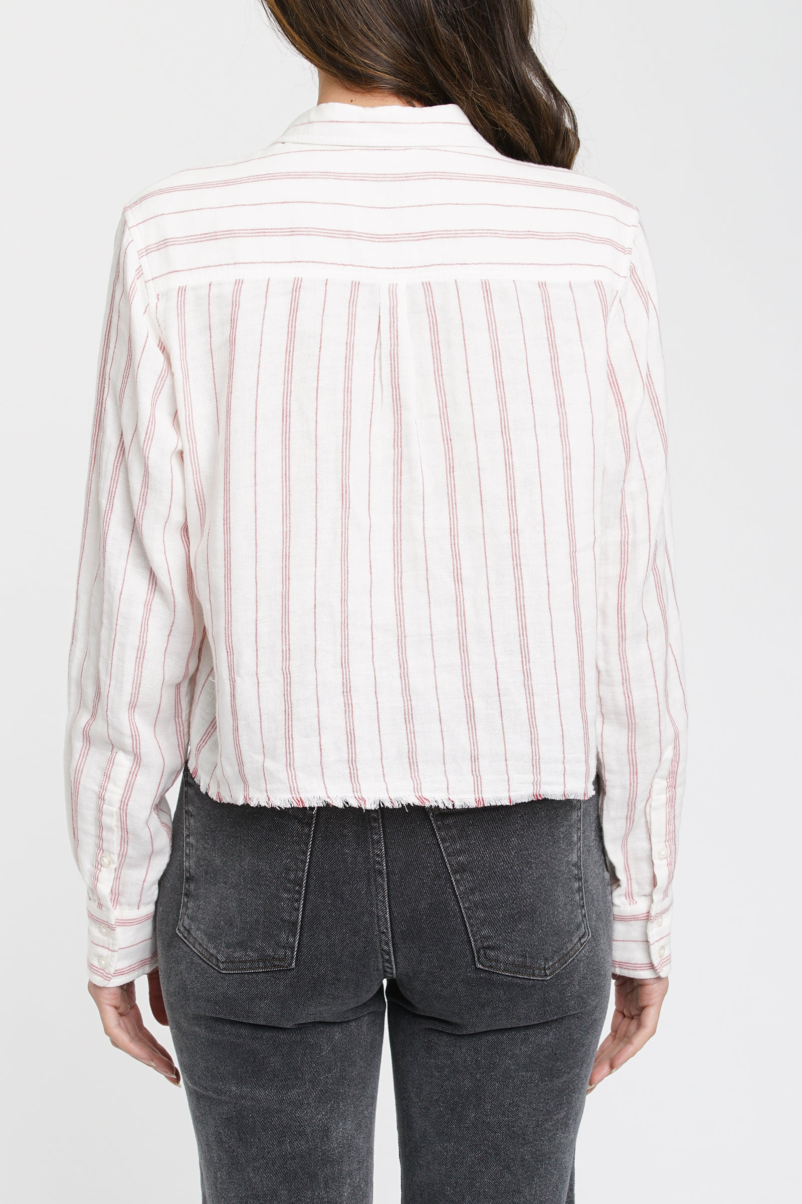 Sloanne Long Sleeve Cropped Poplin Shirt- Manchester Stripe