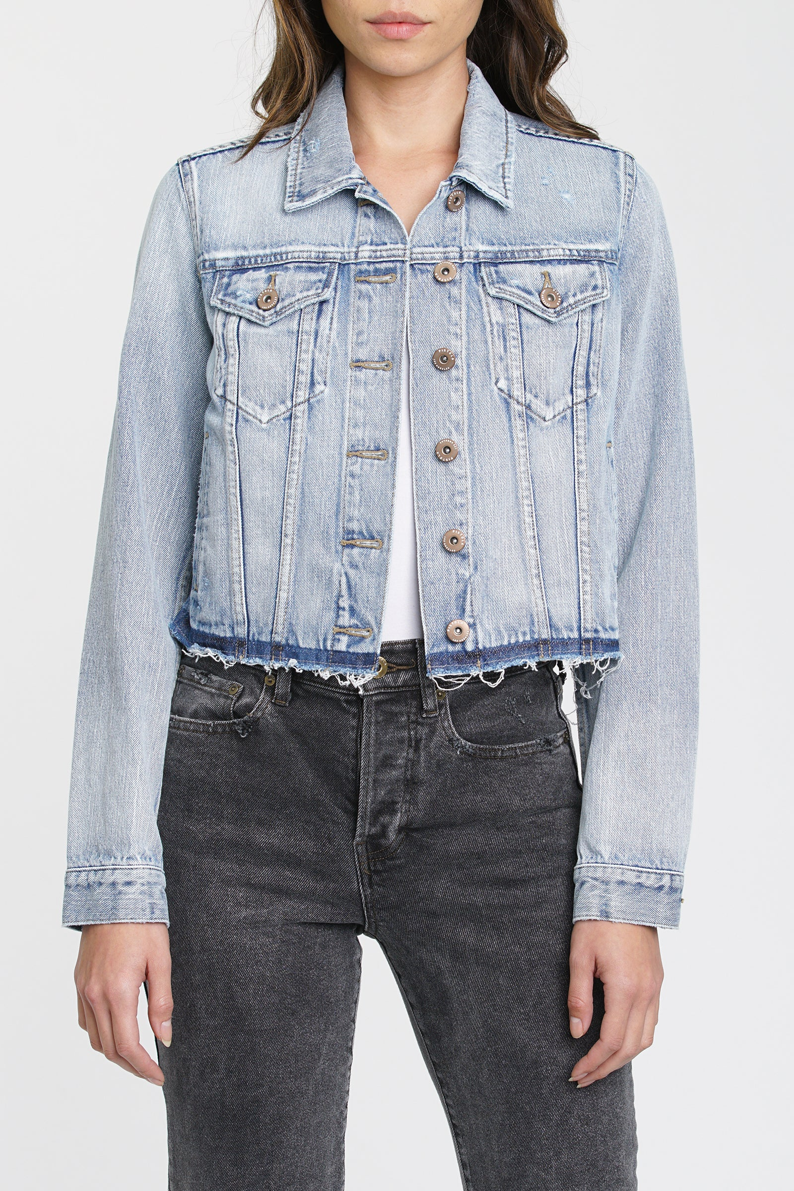 Brando Crop Fitted Denim Jacket - Bowie