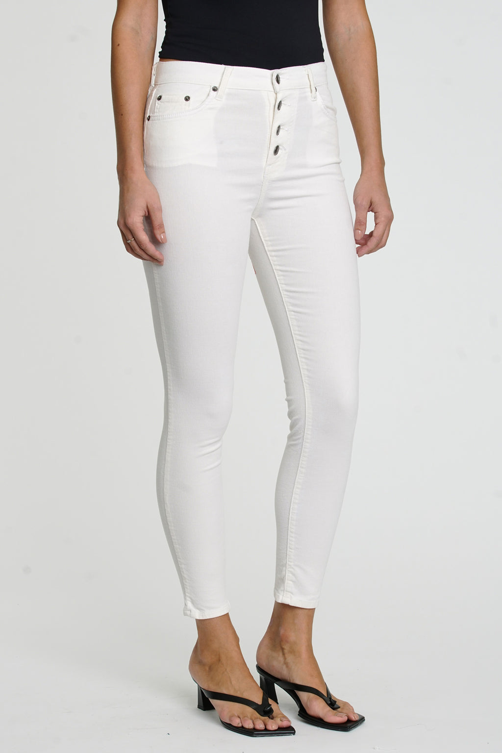 Aline Exposed Button High Rise Skinny - Winter White