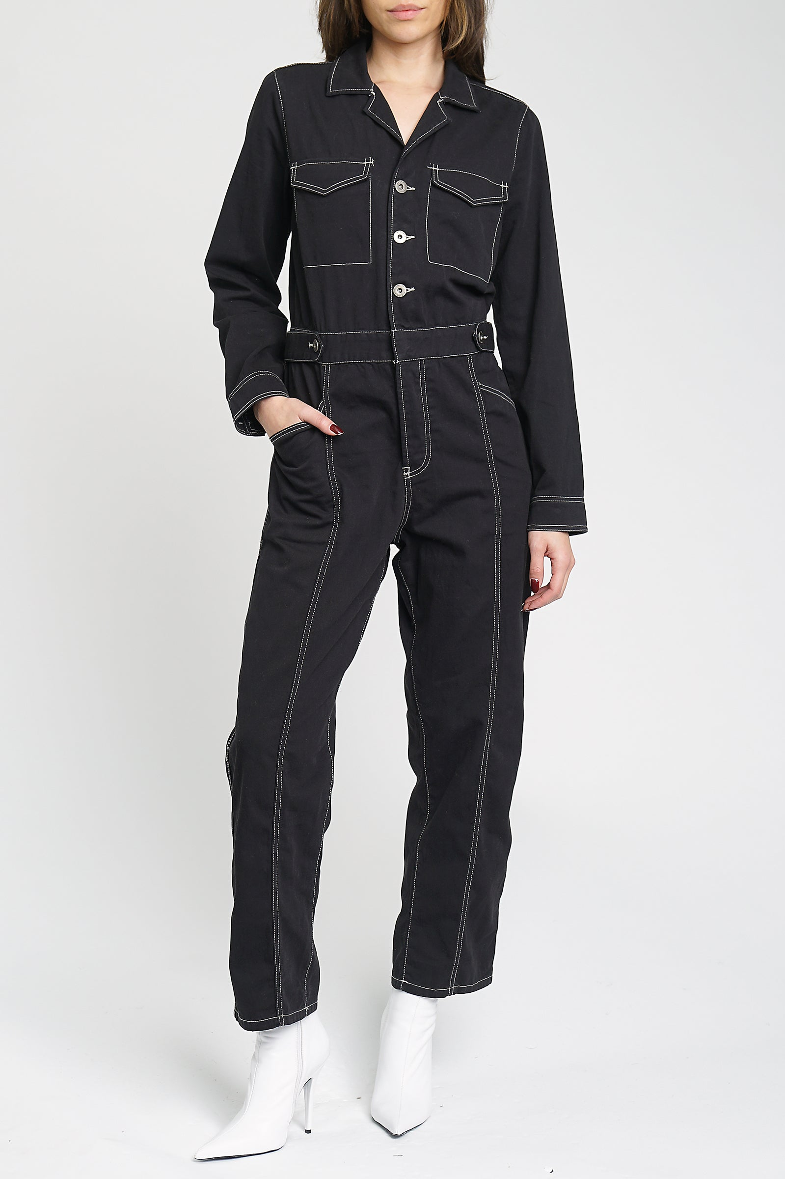 Reagan Long Sleeve Jumpsuit With Contrast Stitching - Onyx
