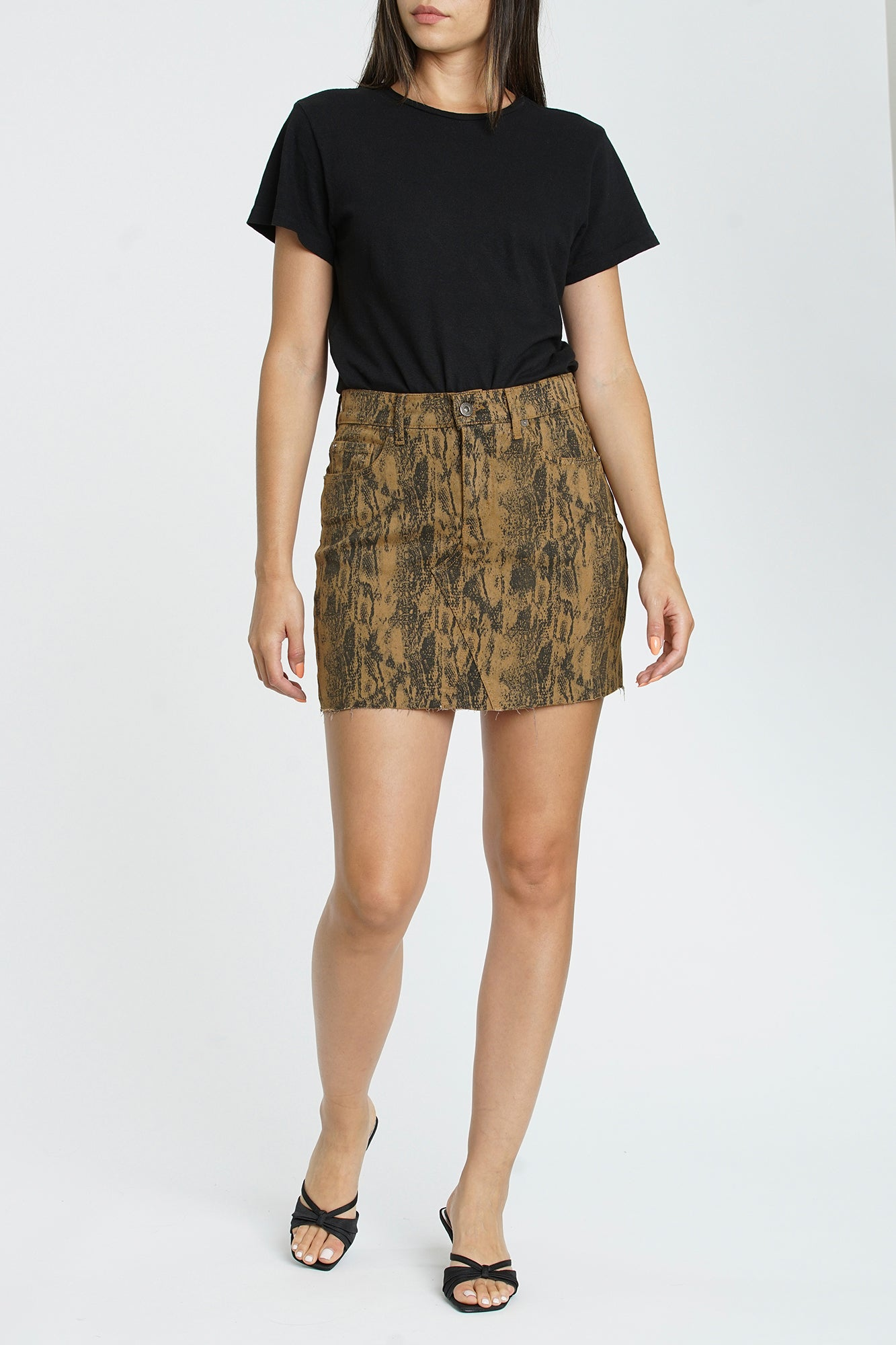 Ryder High Low Pencil Skirt - Golden Snake