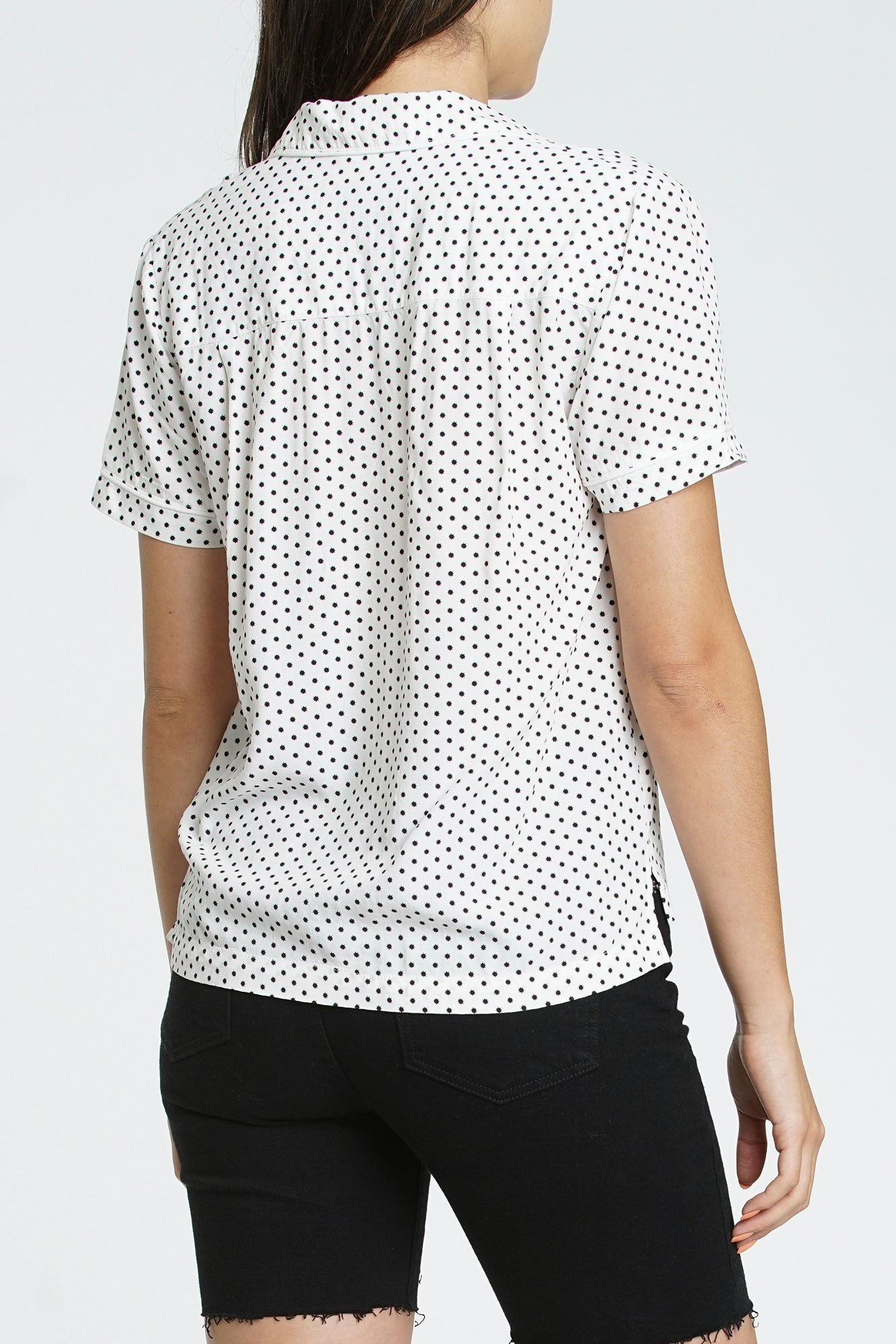 Scarlett Short Sleeve Pajama Collar Shirt - Morning Star