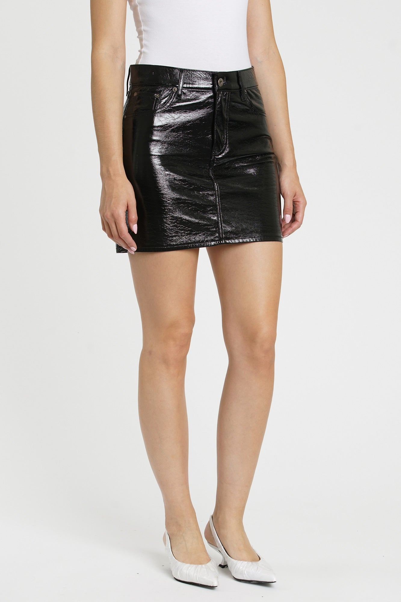 Sierra Shiny PU Retro High Rise Skirt - Midnight Train