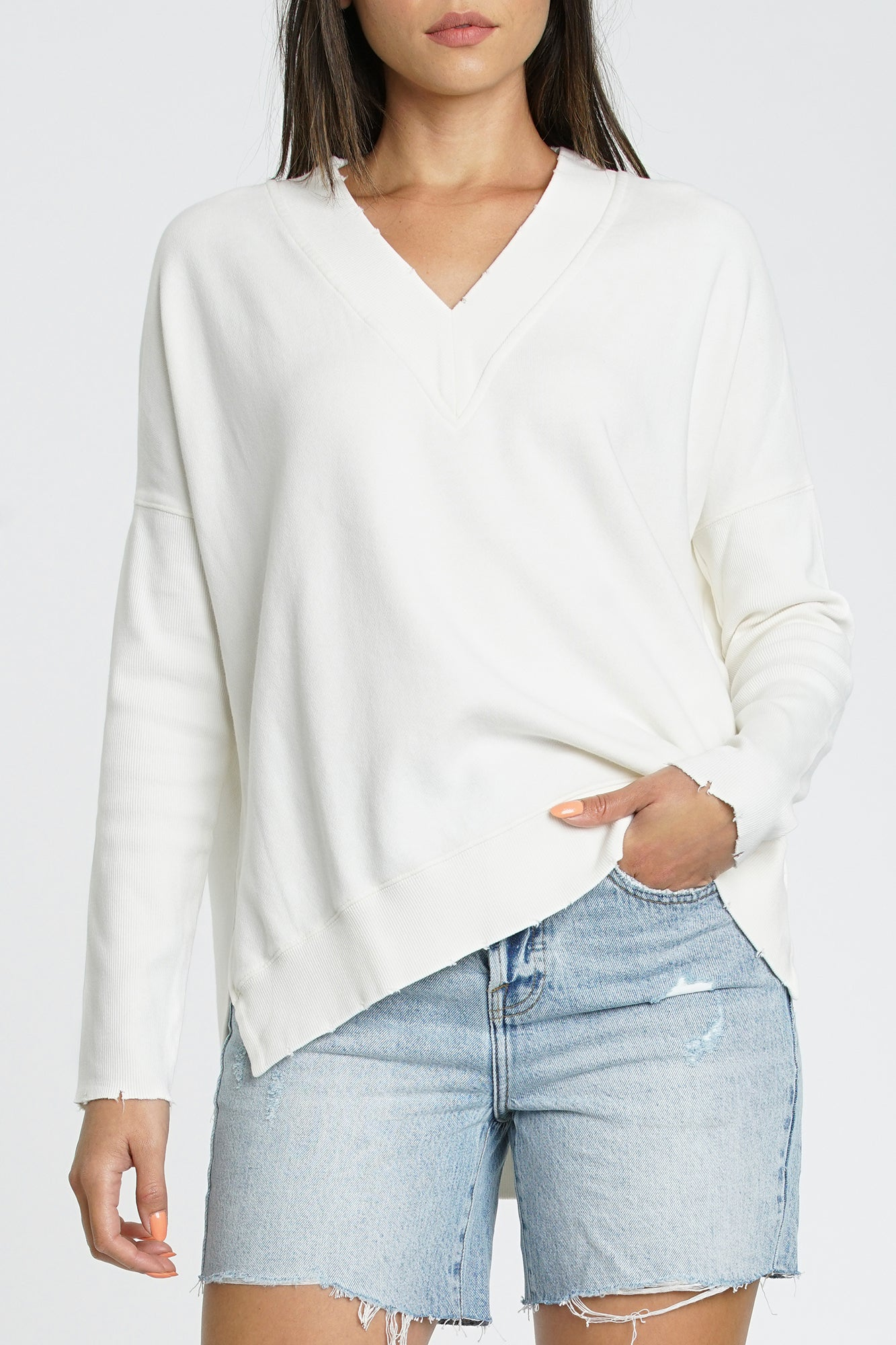 Simone V-Neck French Terry Pullover - Creme