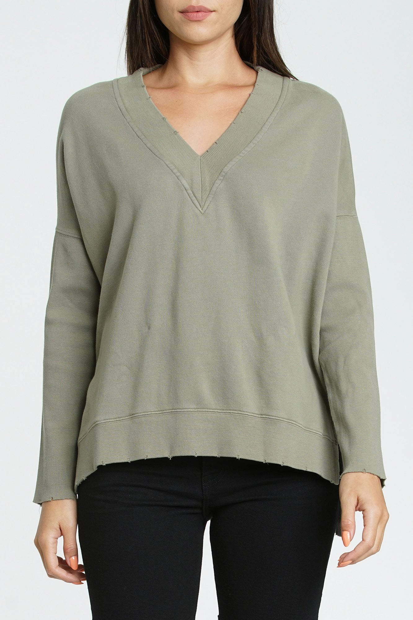 Simone  V-Neck French Terry Pullover - Topanga Green