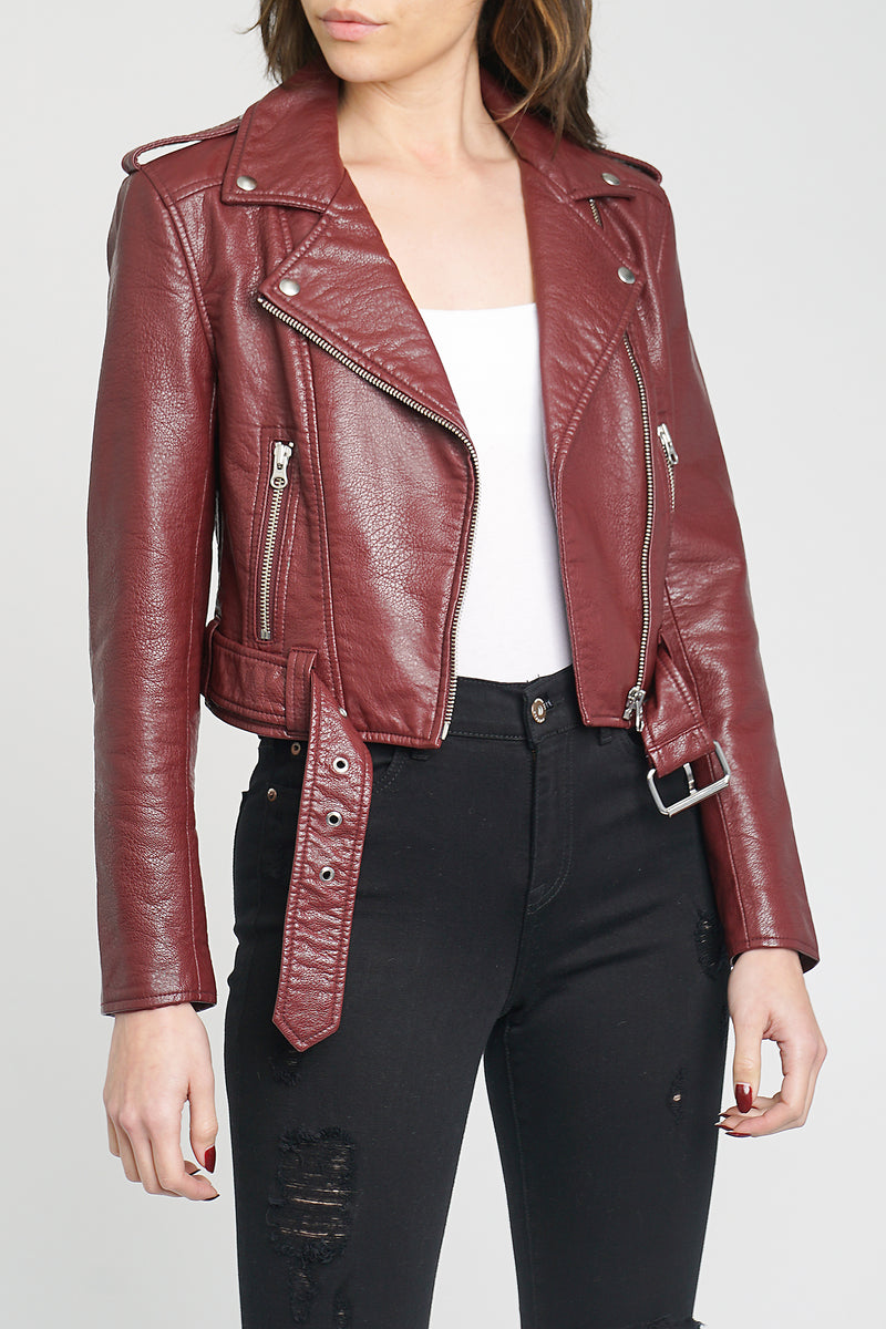 Tracy Jacket Cropped Moto Jacket - Mahogany