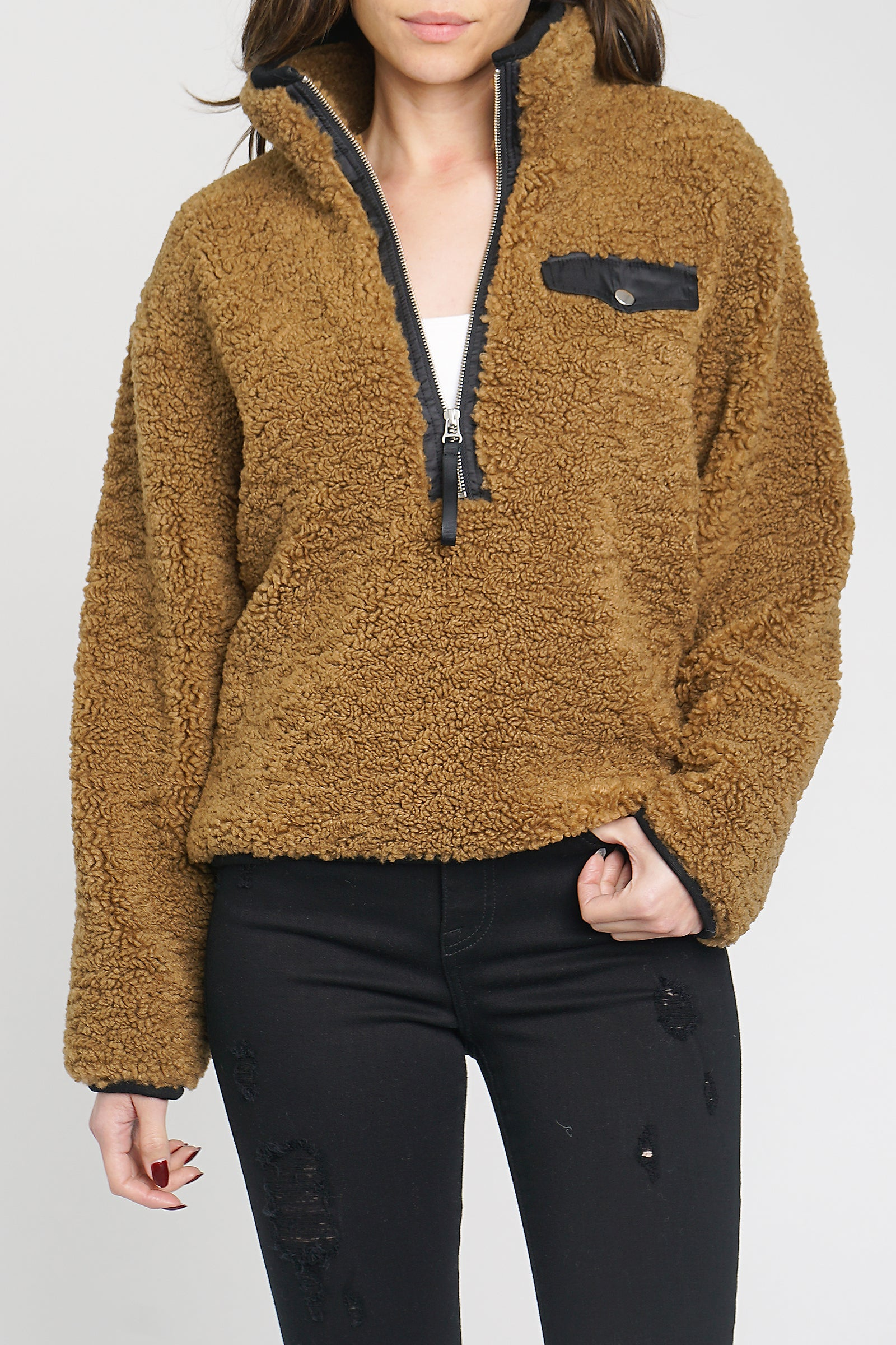 Zoey Fuzzy Pullover - Camel