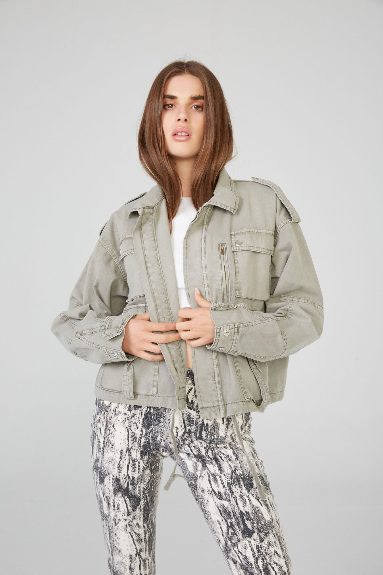 Ashton Cropped Utility Jacket - Moss
