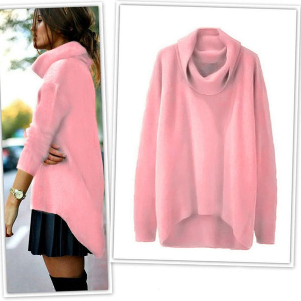 Women Long Sleeve Irregular Knitted Pullover Loose Sweater Solid Black Pink pull gilet femme Camisolas Malha Mulher
