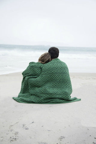 Aran Plated Celtic Blanket Connemara green