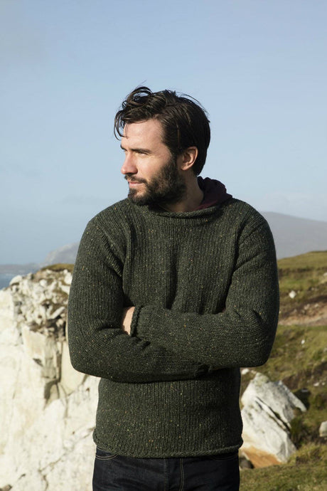 Pure new wool role neck Aran sweater