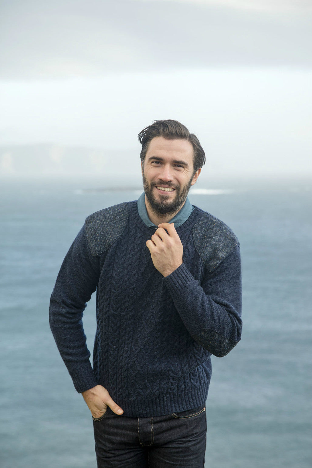 Shetland crew neck Aran Sweater with patch shoulder detail
