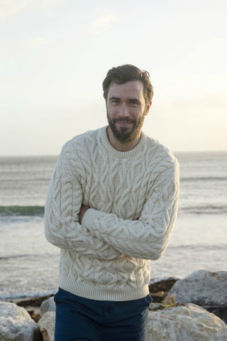 Super soft Merino crew neck Aran Sweater