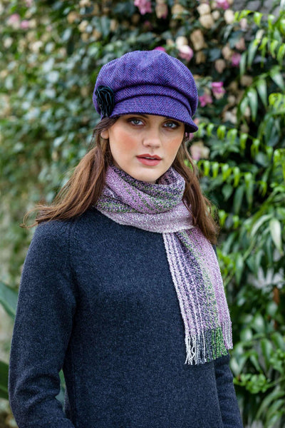 Muckros Weavers Skellig Scarf Purple green & Blue