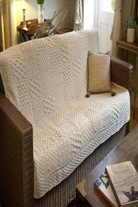 Aran Patchwork Throw Natural