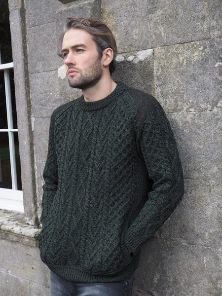 Aran Sweater with tweed detail 2 army green