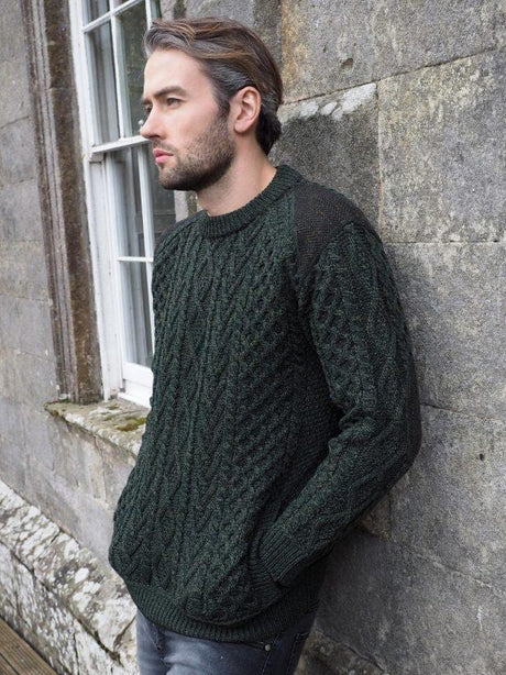 Crew neck with tweed detail Aran Sweater Army Green1