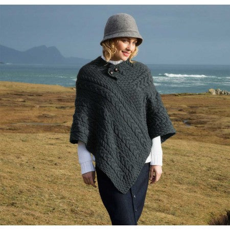 Women's Aran Poncho with button detail merino denim