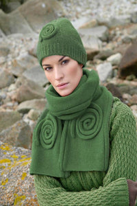 Irish Celtic swirl Hat and Scarf set Irish Green