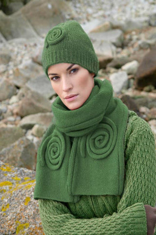 Aran Celtic Swirl Hat and Scarf Set Irish Green