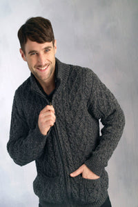 Full Zip Aran Cardigan With pockets charcoal