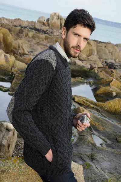 Aran Sweater  with tweed detail charcoal