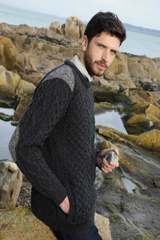 Crew neck Aran Sweater with tweed detail