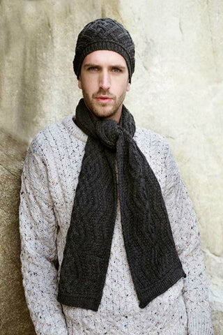 Aran Nua Hat and Scarf Set Charcoal